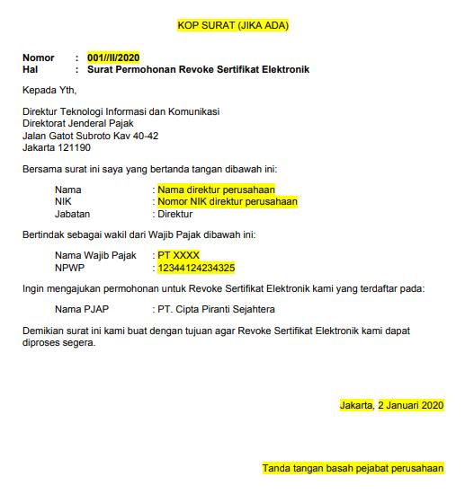 Contoh template permohonan revoke sertifikat elektronik-min