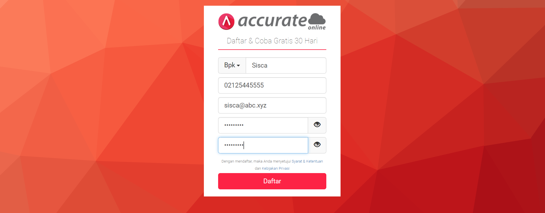 Aktivasi database Accurate Online